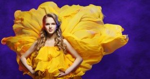 Fashion Model Girl Yellow Dress, Young Woman Posing Flowing Clot